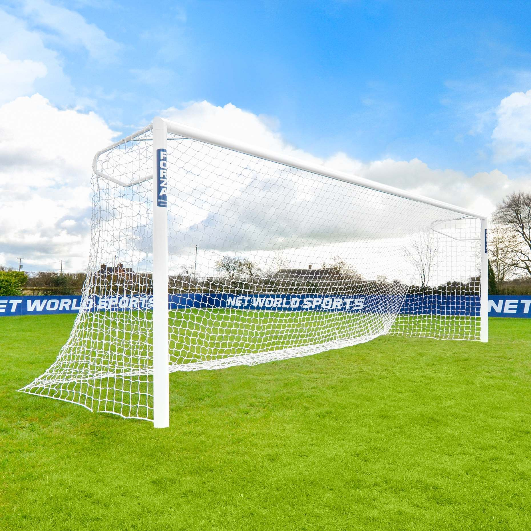 6.4m x 2.1m (21ft x 7ft) FORZA Alu110 Socketed Football Goal