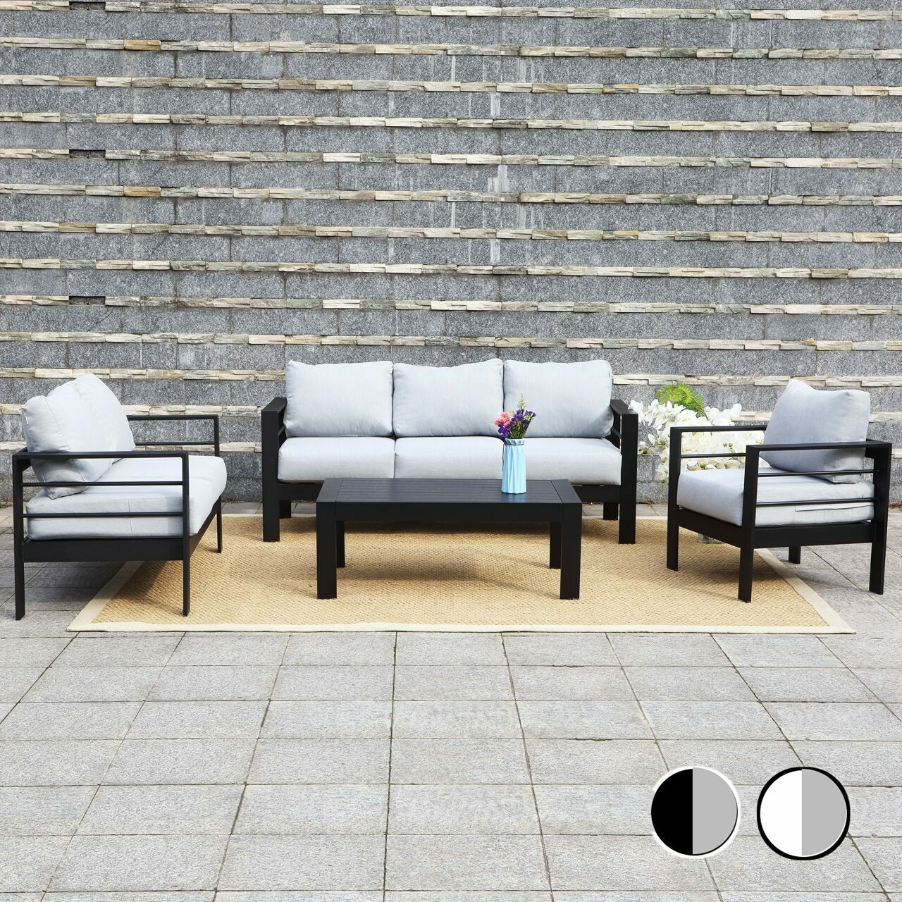 Harrier Outdoor Garden Sofa & Table Furniture Set