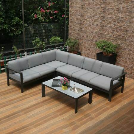 Harrier Luxury Garden Corner Sofa Sets [Build Your Own] - Charcoal