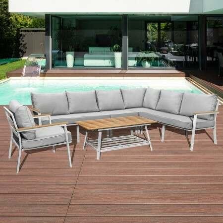 Harrier Alu Corner Sofa Set [7 Seat] - White | Net World Sports