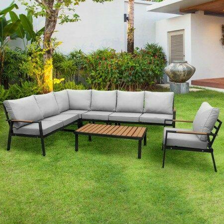 Harrier Black Alu Corner Sofa Set [7-Seater] | Net World Sports