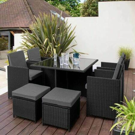 Harrier Rattan Cube Dining Set [8 Seats] | Net World Sports