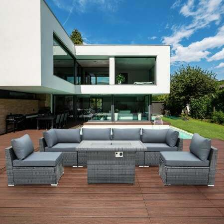 Harrier Rattan Sofa Set (6 Seats + Fire Pit) | Net World Sports
