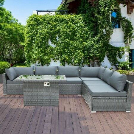 Harrier Rattan Corner Sofa [6 Seats/Fire Pit] | Net World Sports