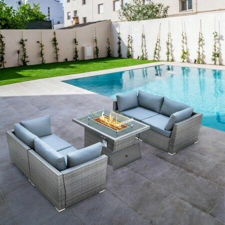 Harrier Rattan Sofa Set (4 Seats & Fire Pit) | Net World Sports