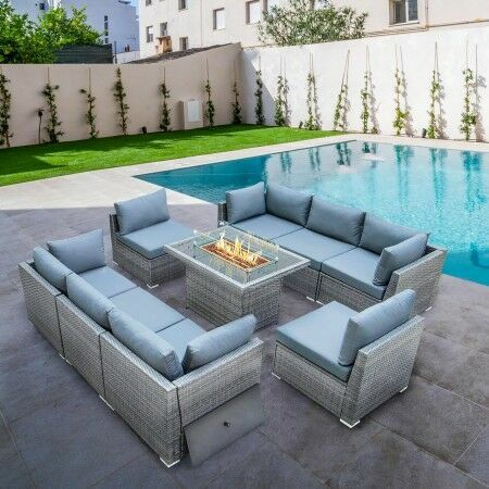 Harrier Rattan Sofa Set [8 Seats + Fire Pit] | Net World Sports
