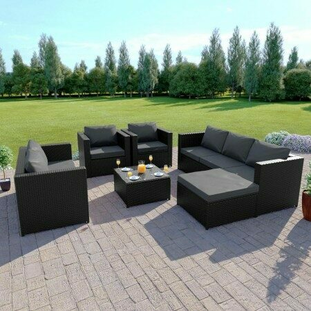 Harrier 8 Seater Luxury Corner Rattan Set | Net World Sports