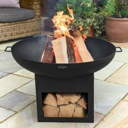Harrier Fire Pit Bowl With Log Storage | Net World Sports
