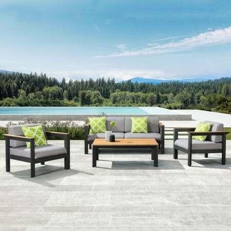 Harrier luxuriöses Garten Sofa & Tisch Set [4 Sitze]  – Anthrazit/Teak