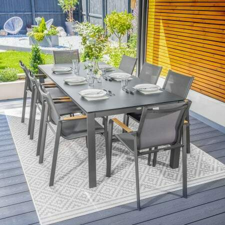 Harrier Luxury Outdoor Dining Set [Charcoal] | Net World Sports
