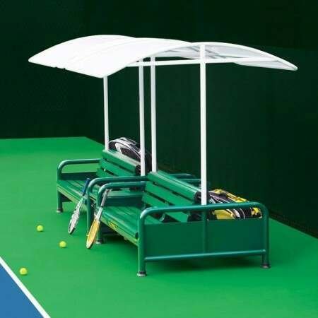 Double Sided Tennis Court Bench Set - Forest Green | Net World Tennis USA