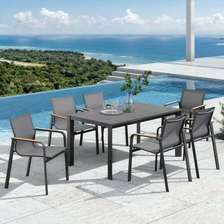 Harrier Luxury Outdoor Dining Set [Charcoal] | Net World Sports