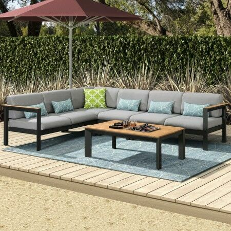 Harrier Luxury Garden Corner Sofa & Table Set [5/6 Seater] - Charcoal/Teak