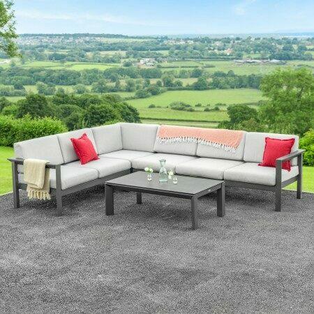 Harrier Luxury Garden Corner Sofa Sets [Build Your Own] - Charcoal