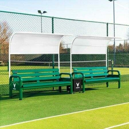 Double Tennis Court Bench With Canopy Shade Protection | Net World Sports