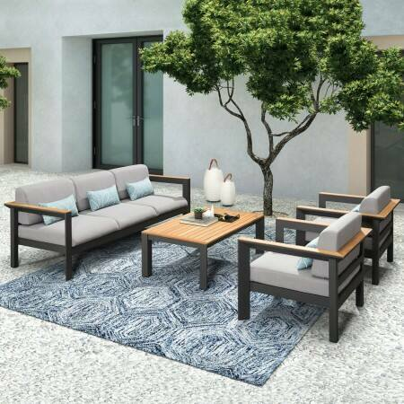 Harrier Luxury Garden Sofa Set [Build Your Own] - Charcoal/Teak