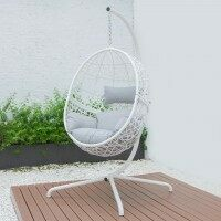 Harrier Hanging Egg Swing Chairs [Single] - White & Grey