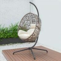 Harrier Hanging Egg Swing Chairs [Single] - Brown & Cream