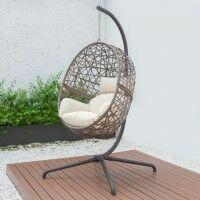 Harrier hängande äggformad stol [1-sitsig] - Brun & Krämfärgad