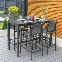 Harrier Luxury Outdoor Bar Stools & Table Set [4 Seats]