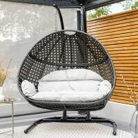 Harrier Double Hanging Egg Chair [Black/White]