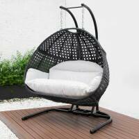 Harrier Hanging Egg Swing Chairs [Double] - Black/White