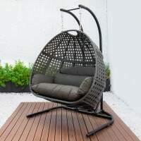 Harrier Double Hanging Egg Chair [Brown/Brown]