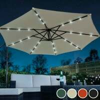 Harrier 3m Overhanging Parasol Umbrella [Solar LED - White]