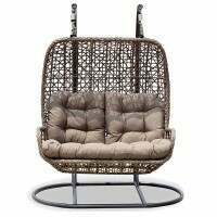 Harrier Double Hanging Egg Chair [Brown & Grey]