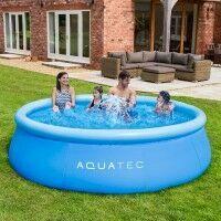 AquaTec Aufblasbares Planschbecken [3,7m] mit Pumpe Beckenabdeckung