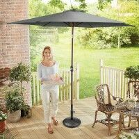 Harrier 2.7m Crank & Tilt Parasol [Standard - Grey] + Concrete Base Weight + Cover