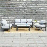 Harrier Outdoor Garden Sofa & Table Furniture Set [Grey/Grey]