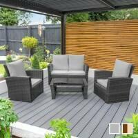 Harrier Rattan Garden Sofa & Table Set [Grey]
