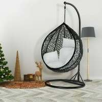 Harrier Hanging Egg Swing Chairs [Single] - Black & White