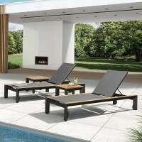 Harrier Luxury Garden Sofa Set [Sun Loungers] - Charcoal/Teak