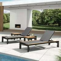 Harrier Luxury Aluminium Sun Lounger [Charcoal/Teak]