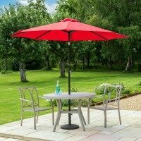 Harrier 2.7m Crank & Tilt Parasol [Standard - Dark Red] + Bronzed Base Weight