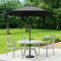 Harrier 2.7m Crank & Tilt Parasol [Standard - Black] + Concrete Base Weight