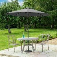 Harrier 2.7m Crank & Tilt Parasol [Solar LED - Grey] + Concrete Base Weight