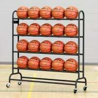 Freestanding Sports Ball Trolley Portable Ball Rack- 20 Balls