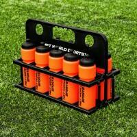 10 Orange AFL Water Bottles [750ml] & Foldable Bottle Carrier