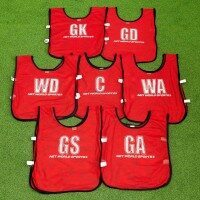 Chasubles de Netball [Pack de 7] - Junior, Rouge