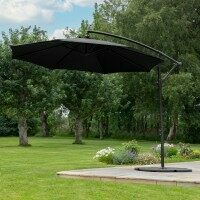 Harrier 3m Overhanging Parasol Umbrella [Standard - Black] + 4x Bases