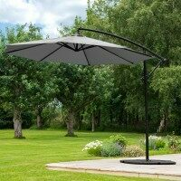 Harrier 3m Overhanging Parasol Umbrella [Standard - Grey] + 2x Bases