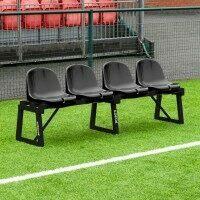 FORZA Aluminum Multi-Sports Bench - 6.6ft | 4 Black Sports Seats