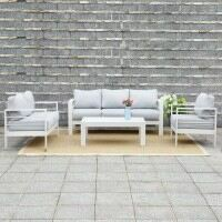 Harrier Salon de Jardin en Aluminium – Table & Chaises [Blanc/Gris]
