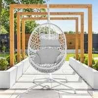 Harrier Hanging Egg Swing Chairs [Single] - White & Grey