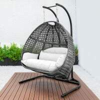 Harrier Hanging Egg Swing Chairs [Double] - Grey/White