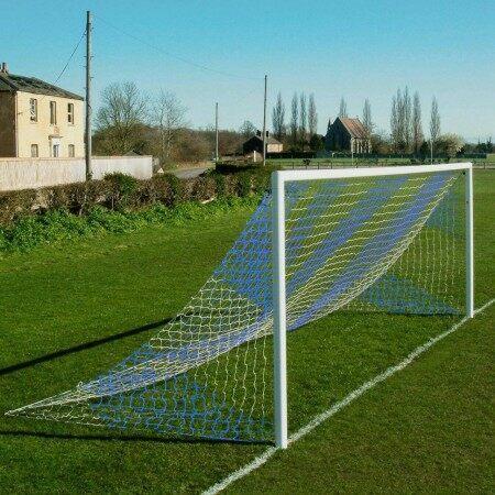 Straight Back Full Size Football Goal Nets - Striped