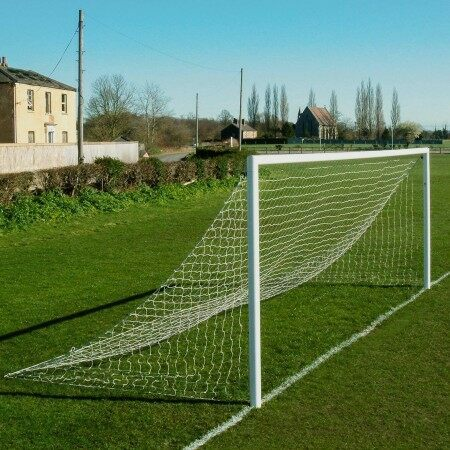 Straight Back Full Size Football Goal Nets - Striped